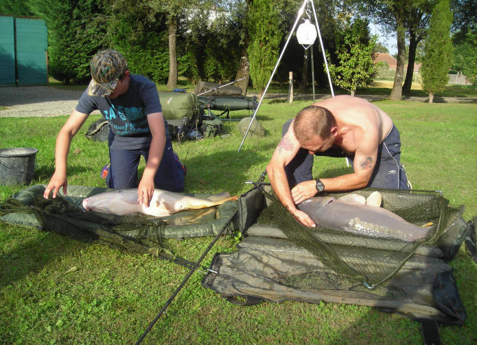 unhooking-two-big-carp-caught-together-at-smallwater-lakes-in-france